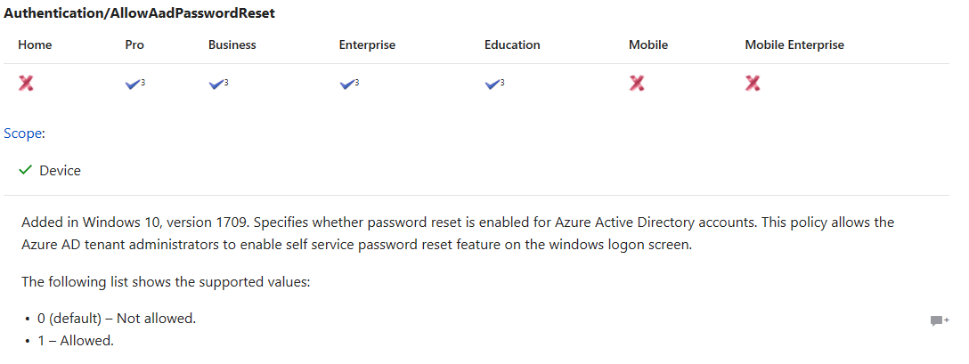Enable self service password reset feature on the windows logon